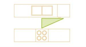 Bucătărie în linie dreaptă pe doi pereţi